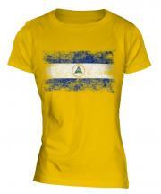 Nicaragua Distressed Flag Ladies T-Shirt