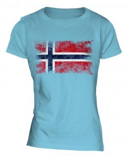 Norway Distressed Flag Ladies T-Shirt