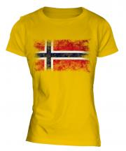 Norway Distressed Flag Ladies T-Shirt