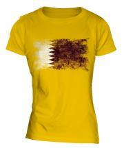 Qatar Distressed Flag Ladies T-Shirt