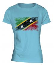 Saint Kitts And Nevis Distressed Flag Ladies T-Shirt
