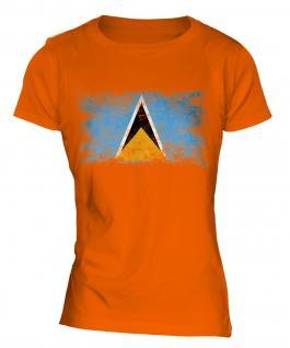 Saint Lucia Distressed Flag Ladies T-Shirt