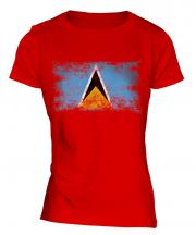 Saint Lucia Distressed Flag Ladies T-Shirt