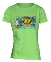 Saint Pierre And Miquelon Distressed Flag Ladies T-Shirt