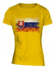 Slovakia Distressed Flag Ladies T-Shirt