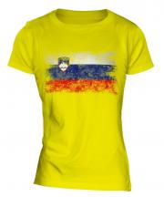 Slovenia Distressed Flag Ladies T-Shirt