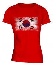 South Korea Distressed Flag Ladies T-Shirt