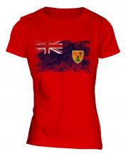 Turks And Caicos Islands Distressed Flag Ladies T-Shirt
