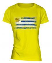 Uruguay Distressed Flag Ladies T-Shirt