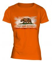 California State Distressed Flag Ladies T-Shirt