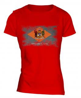 Delaware State Distressed Flag Ladies T-Shirt