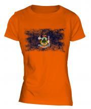 Maine State Distressed Flag Ladies T-Shirt