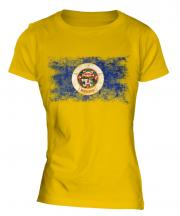 Minnesota State Distressed Flag Ladies T-Shirt