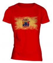 New Jersey State Distressed Flag Ladies T-Shirt
