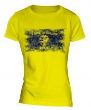 Oregon State Distressed Flag Ladies T-Shirt