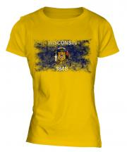 Wisconsin State Distressed Flag Ladies T-Shirt