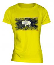 Wyoming State Distressed Flag Ladies T-Shirt