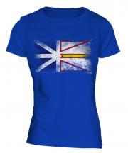 Newfoundland And Labrador Distressed Flag Ladies T-Shirt