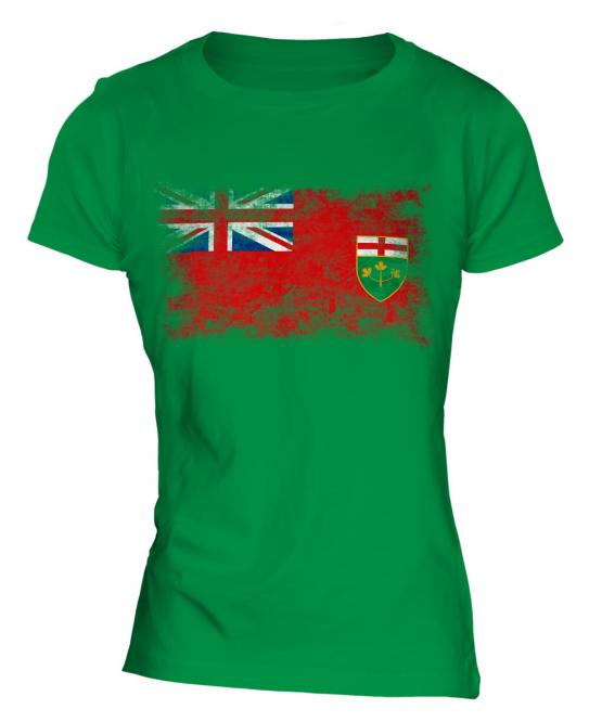 Ontario Distressed Flag Ladies T-Shirt