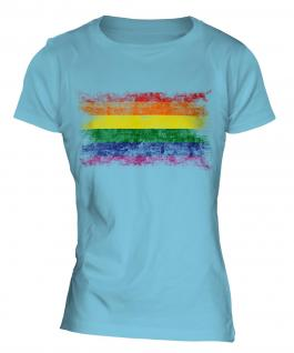 Gay Pride Distressed Flag Ladies T-Shirt