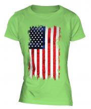 Stars And Stripes Grunge Flag Ladies T-Shirt