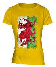 Wales Grunge Flag Ladies T-Shirt