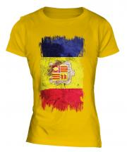 Andorra Grunge Flag Ladies T-Shirt