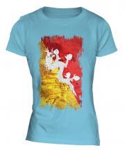 Bhutan Grunge Flag Ladies T-Shirt