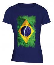 Brazil Grunge Flag Ladies T-Shirt