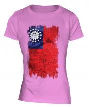Burma Grunge Flag Ladies T-Shirt