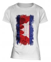 Cambodia Grunge Flag Ladies T-Shirt