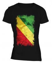 Congo Grunge Flag Ladies T-Shirt
