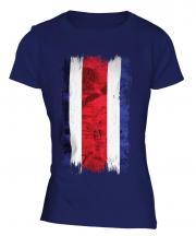 Costa Rica Grunge Flag Ladies T-Shirt