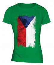 Czech Republic Grunge Flag Ladies T-Shirt