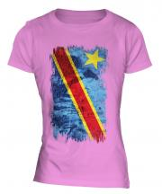 Democratic Rep. Of Congo Grunge Flag Ladies T-Shirt