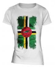 Dominica Grunge Flag Ladies T-Shirt