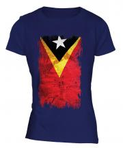East Timor Grunge Flag Ladies T-Shirt