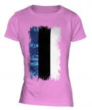 Estonia Grunge Flag Ladies T-Shirt