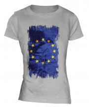 European Union Grunge Flag Ladies T-Shirt