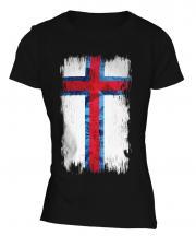 Faroe Islands Grunge Flag Ladies T-Shirt