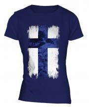 Finland Grunge Flag Ladies T-Shirt