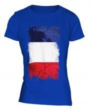 France Grunge Flag Ladies T-Shirt