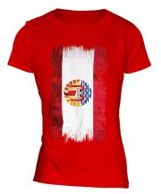 French Polynesia Grunge Flag Ladies T-Shirt