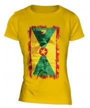 Grenada Grunge Flag Ladies T-Shirt