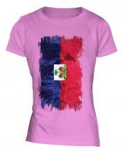 Haiti Grunge Flag Ladies T-Shirt