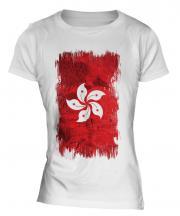 Hong Kong Grunge Flag Ladies T-Shirt