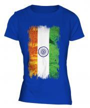 India Grunge Flag Ladies T-Shirt