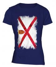 Jersey Grunge Flag Ladies T-Shirt