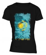 Kazakhstan Grunge Flag Ladies T-Shirt