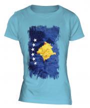 Kosovo Grunge Flag Ladies T-Shirt
